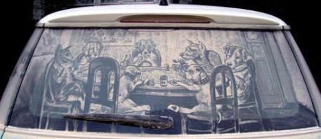 Художник из США украшает окна пылью. Фото с secretchina.com