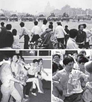 Расправа над студентами на площади Тяньаньмэнь 4 июня 1989 года. Фото: Boxun.com