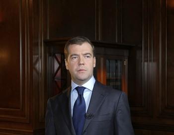 Президент РФ Дмитрий Медведев 30 октября 2009 года. Фото: VLADIMIR RODIONOV/AFP/Getty Images