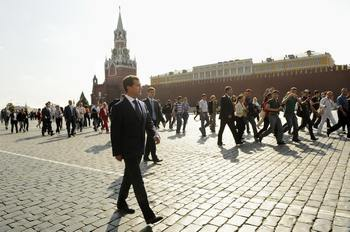Президент России на красной площади (Red Square). Фото: NATALIA KOLESNIKOVA/AFP/Getty Images