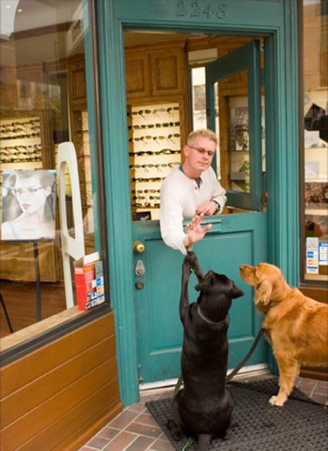 Парочка собак остановилась, чтобы получить лакомства у магазина оптики – одного из многих магазинчиков в округе Марина, предлагающих лакомства для собак. (Catherine Karnow)