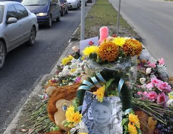 Место ДТП в Брянске, где погибла трёхлетняя Соня Сивакова. Фото РИА Новости