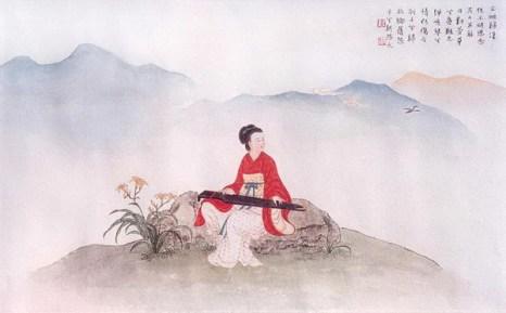 Четвертая картина: После того, как Вэньцзи возвратилась в Китай, она продолжала думать о своих детях, оставленных у гуннов, и пробовала облегчить свою боль музыкой.