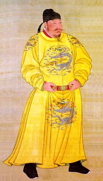 Как царь мифических животных китайский дракон — это символ императорской власти. На картине — император Тайцзун династии Тан в халате, расшитом драконами.