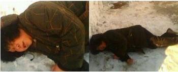 Полицейские бросили Лю Хунчжэнь замерзать на снегу. Фото: minghui.org
