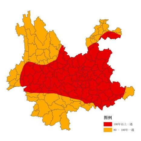 Карта провинции Юньнань. Коричневым выделены районы, на которых засуха стала самой сильной за более 100 лет; жёлтым – за 80–100 лет.