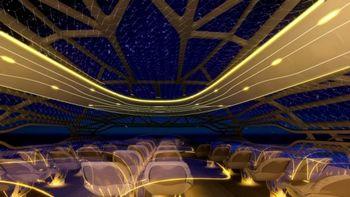 На этом фото, предоставленном компанией «Аэробус» 14 июня 2011 г., изображена бионическая структура и интерактивная оболочка концептуальной кабины «Аэробуса», которая в 2050 г. позволит пассажирам наблюдать за ночным небом во время перелетов.  Фото: Getty Images