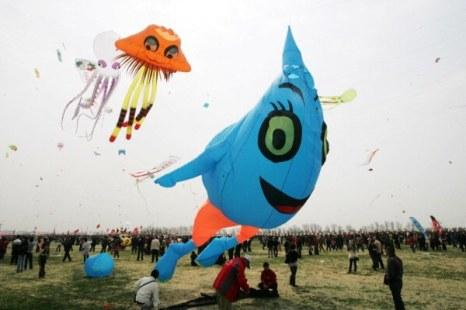 В Китае проходит международный фестиваль воздушных змеев. Фото: ChinaFotoPress/Getty Images