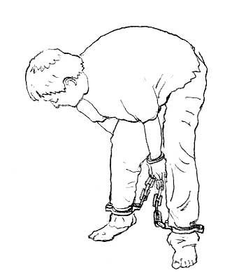 Иллюстрация пытки «сковывание в кандалах и наручниках в неудобной позе». Фото: minghui.org
