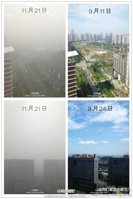 Как смог изменяет городские пейзажи. Слева фото, сделанные 21 ноября, а справа — 11 сентября. Город Чэнду провинции Сычуань. 2013 года. Фото с epochtimes.com