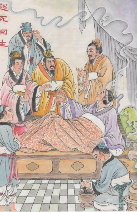 Иллюстрация: Бянь Цюэ возвращает умирающего принца к жизни. Император был впечатлён отличными медицинскими навыками Бянь Цюэ. Фото: Jane Ku/Великая Эпоха (The Epoch Times)