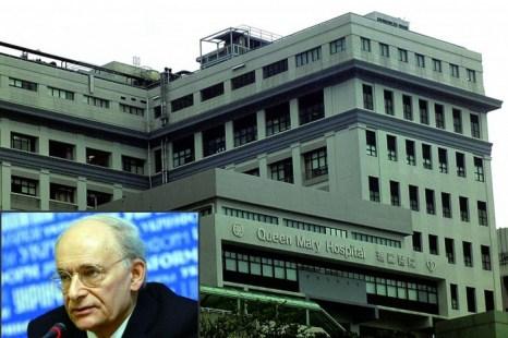 Коллаж: адвокат по правам человека Дэвид Мэйтас в нижнем левом углу и гонконгская больница королевы Марии на заднем плане. В больнице хранятся данные по пересадке печени, которые, если открыть их общественности, стали бы важными доказательствами принудительного извлечения органов в Китае. Фото: Poon Chai-Shu/Epoch Times
