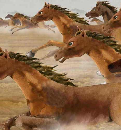 Тысячи лошадей мчатся галопом. Иллюстрация: Hua Kuo/Великая Эпоха (The EpochTimes)