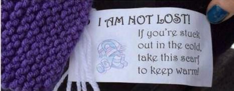 В записке говорится: «Я не потерян! Если вы замёрзли, возьмите этот шарф, чтобы согреться». Фото: reddit.com/user/justfnpeachy