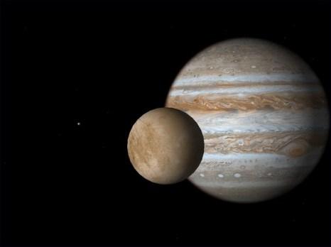 Юпитер и его спутник Европа. Фото: flickr