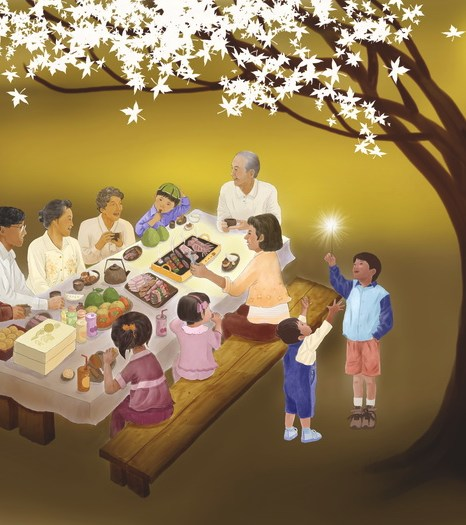 Праздник середины Осени — это семейный праздник. Иллюстрация: СМ Ян/Великая Эпоха