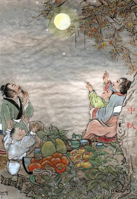 Любование луной во время праздника середины осени. Иллюстрация: Джейн Ку/Великая Эпоха