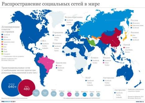 Распространение социальных сетей в мире