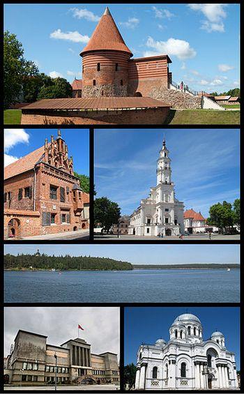 Фотомонтаж достопримечательностей Каунаса с сайта wikimedia.org