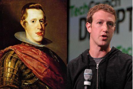 Слева: Филипп IV, Испания, 15 век. Картина Диего Веласкеса. Справа: Марк Цукерберг, основатель Facebook, 11 сентября 2013. Фото: Steve Jennings/GettyImages for TechCrunch