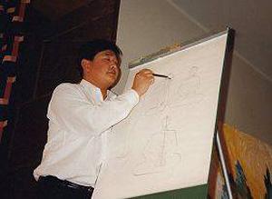 Швеция, Гетеборг. Мастер Ли Хунчжи читает лекцию о Фалуньгун. Фото: Великая Эпоха