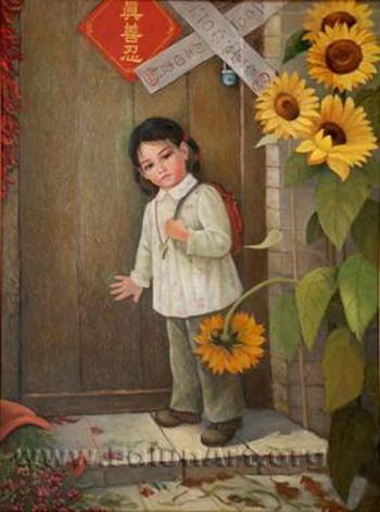 Картина: Бездомная. Маленькая девочка приходит домой из школы и обнаруживает, что ее родители исчезли. Две записки на дверях являются официальными уведомлениями о том, что дом опечатан