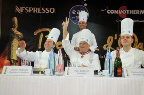 Жюри «Золотого Бокюза» (слева направо): Даниель Було, Поль Бокюз и Фабриций Девинь. Фото предоставлено SIRHA