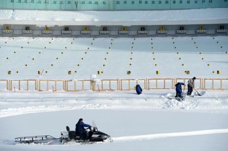 Вид стрельбища в комплексе для соревнований по лыжным гонкам и биатлону «Лаура» в Сочи, 3 февраля 2013 года. Фото: KIRILL KUDRYAVTSEV/AFP/Getty Images