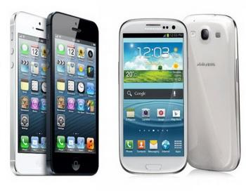 Сравнение смартфонов: Samsung Galaxy S3 и iPhone 5. Фото с сайта: galaxy-droid.ru