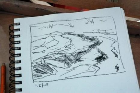 Я нарисовала эскиз ручья, достигающего болотной местности. Я охотно рисую углем. Фото: Мэри Байром