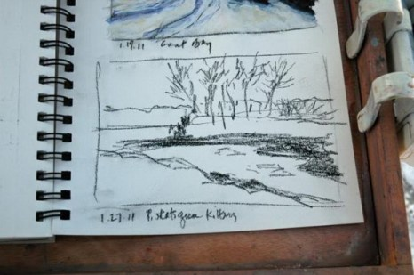 Второй эскиз углем показывает маленький полуостров. Фото: Мэри Байром