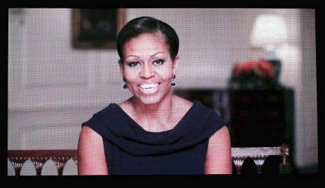 Первая Леди США Мишель Обама на церемонии вручения спортивных наград ESPY Awards 2013 в Лос-Анджелесе 17 июля 2013 года (видео-трансляция). Фото: Frederick M. Brown/Getty Images for ESPY