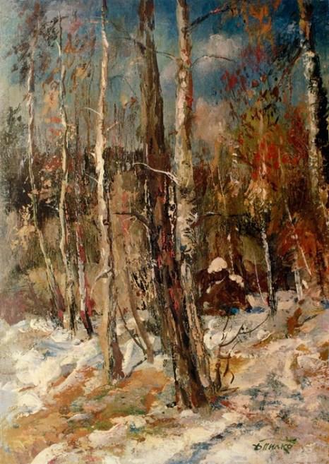 Март в лесу. Художник Давид Пилко