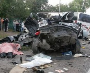 В ДТП в Подольске  столкнулись 10 автомобилей погибли 2 человека. Фото с сайта  topnews.ru