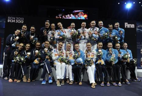 Шестое «золото» выиграли российские синхронистки на ЧМ. Фото: JOSEP LAGO/AFP/Getty Images