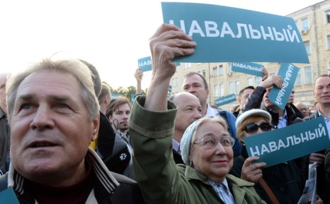 Сторонники лидера российской оппозиции, Алексея Навального, на митинге 9 сентября 2013 года. Фото: VASILY MAXIMOV/AFP/Getty Images