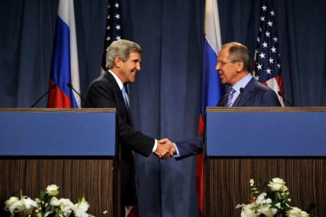 На переговорах главы МИД РФ Сергея Лаврова и госсекретаря США Джона Керри в Женеве, 12 сентября 2013 года. Фото: Harold Cunningham/Getty Images