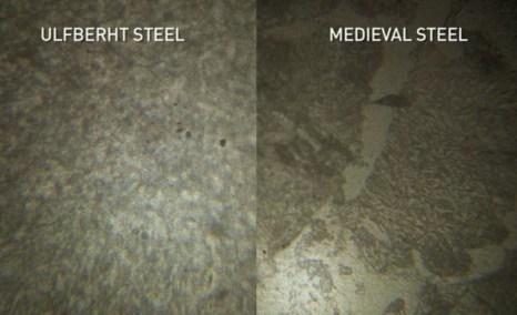 Сталь «Ульфберта» (слева), средневековая сталь (справа). Различие состоит в однородности стали «Ульфберта», почти не содержащей шлака. Фото: Screenshot/NOVA/National Geographic