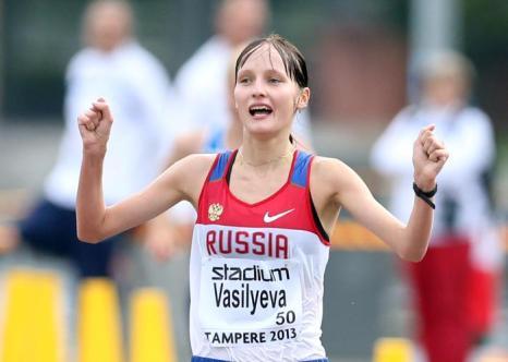 Светлана Васильева победила на дистанции 20 километров Чемпионата Европы среди молодёжи 10 июля 2013 года в Тампере. Фото: Ian MacNicol/Getty Images