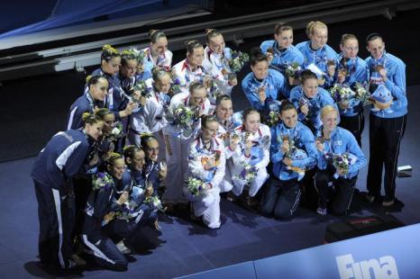 Синхронистки принесли России третье золото Чемпионата мира по водным видам спорта 22 июля 2013 года в испанской Барселоне. Фото: JOSEP LAGO/AFP/Getty Images