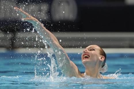 Светлана Ромашина выиграла квалификацию в произвольной программе солисток на Чемпионате мира по водным видам спорта 22 июля 2013 года в испанской Барселоне. Фото: JOSEP LAGO/AFP/Getty Images