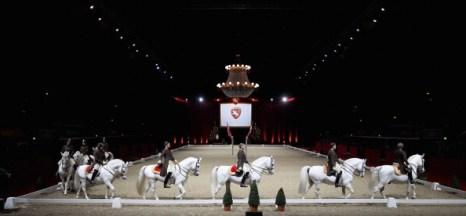 Гала-концерт верховой езды на белых жеребцах Lipizzaner. Фоторепортаж со стадиона Wembley Arena. Фото: Chris Jackson/Getty Images