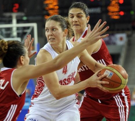 Женская сборная России по баскетболу выиграла золото чемпионата Европы. Фото: JANEK SKARZYNSKI/AFP/Getty Images