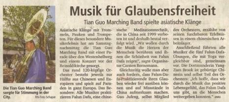 Статья в газете Rhur Nachrichten вышла под названием «Музыка за свободу веры: духовой оркестр «Божественная земля» исполнял музыку Азии». Фото с сайта minghui.tv