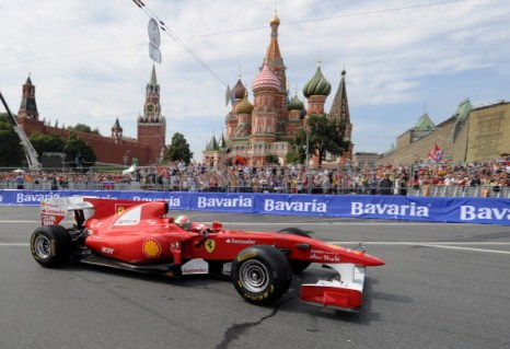 Фоторепортаж  с  шоу «Формулы-1» Moscow City Racing. Фото: NATALIA KOLESNIKOVA/AFP/Getty Images