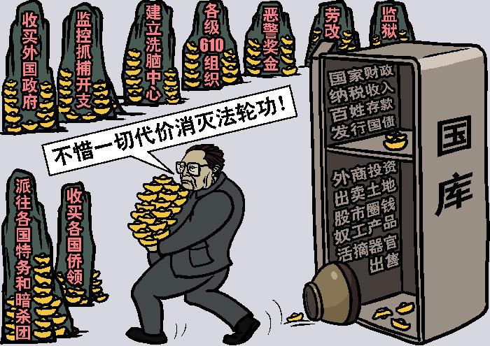 Цзян Цзэминь использовал финансовые ресурсы страны, чтобы преследовать Фалуньгун. Иллюстрация: Великая Эпоха (The Epoch Times)