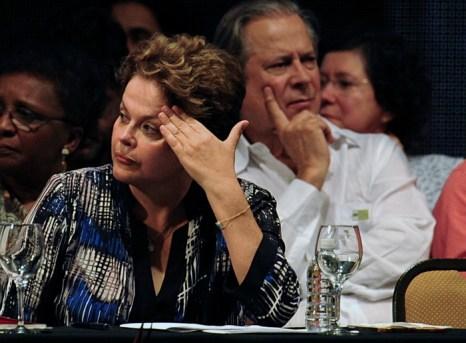 Президент Бразилии Дилма Руссефф рядом с бывшим главой кабинета Жозе Дирсеу на праздновании 32-летия Рабочей партии Бразилии 10 февраля 2012 г. Фото: PEDRO LADEIRA/AFP/Getty Images