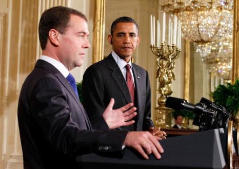 Дмитрий Медведев встретился с Бараком Обамой. Фоторепортаж. Фото: MANDEL NGAN/AFP/Getty Images