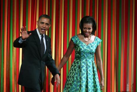 Мишель  и Барак Обама в Белом доме на  обеде для детей, победивших в конкурсе «Здоровый образ  жизни». Фоторепортаж. Фото: Alex Wong/Getty Images
