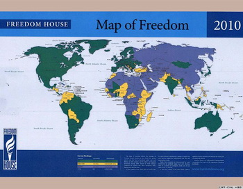Карта свободы, составленная Freedom House. Фото с сайта freedomhouse.org